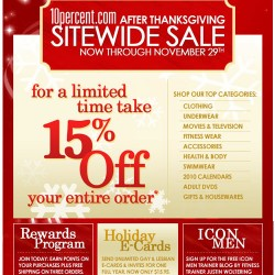 Take 15% Off Your Entire Order Now Through November 29th at 10 Percent.com