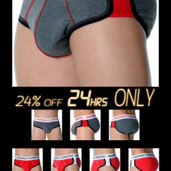 ActiveSHAPE Brief from Andrew Christian in Red, Charcoal & Royal 24% Off Next 24 Hrs