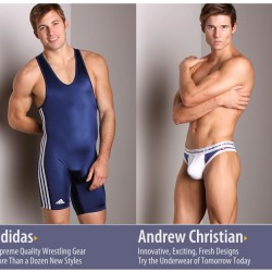 New Andrew Christian Flirt, Almost Naked & New Adidas Wrestling Singlets at International Jock