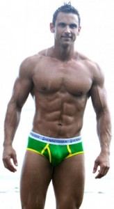 Navy Diver Shark Boy Brief Green Gold