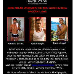 Bone Wear – Underwear and Swim Wear Sponsor of Mr. South Africa