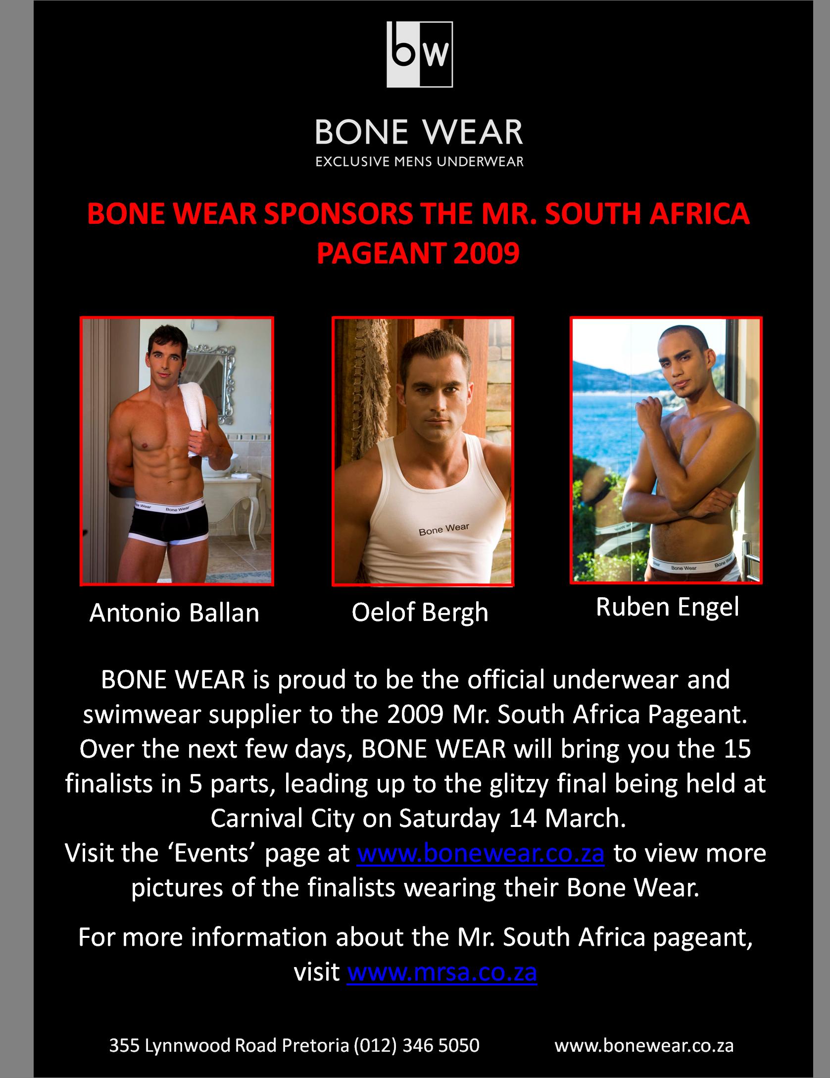 Bone Wear - Underwear and Swim Wear Sponsor of Mr. South Africa