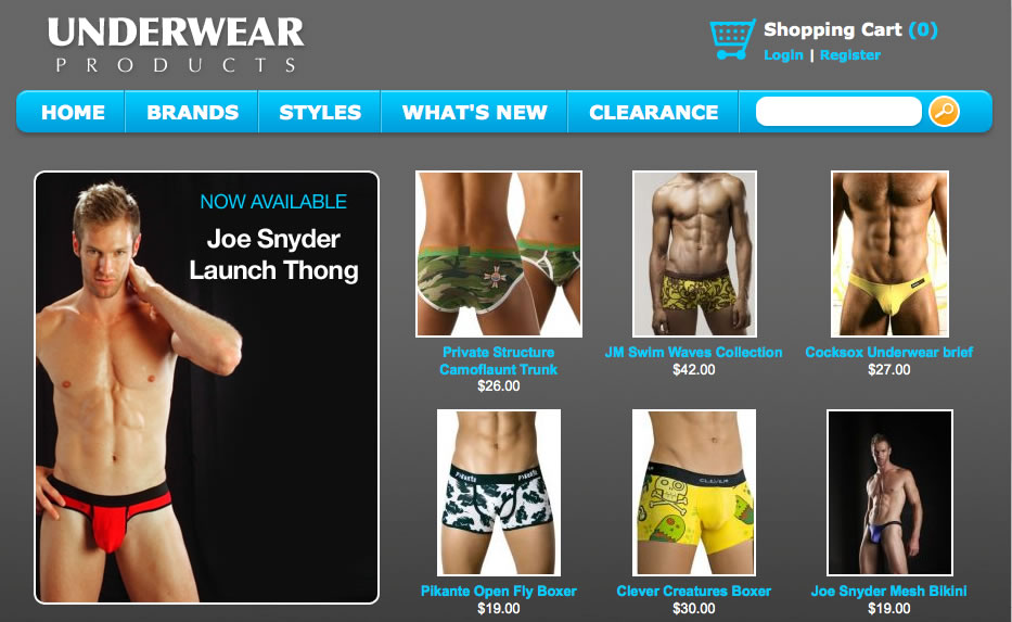 Underwear Products - Redesigned Site