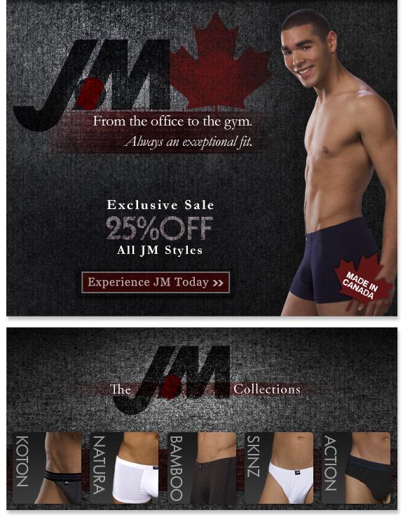 Mens' Underwear Store - 25% off all JM Styles