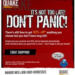Quake for Men – 30% off Sale Ending Soon