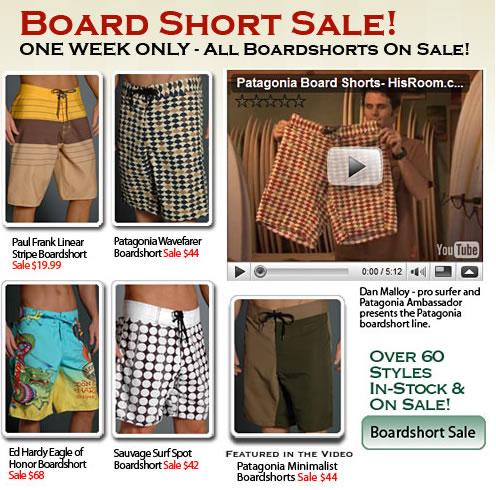 Board Shorts Sale at His Room