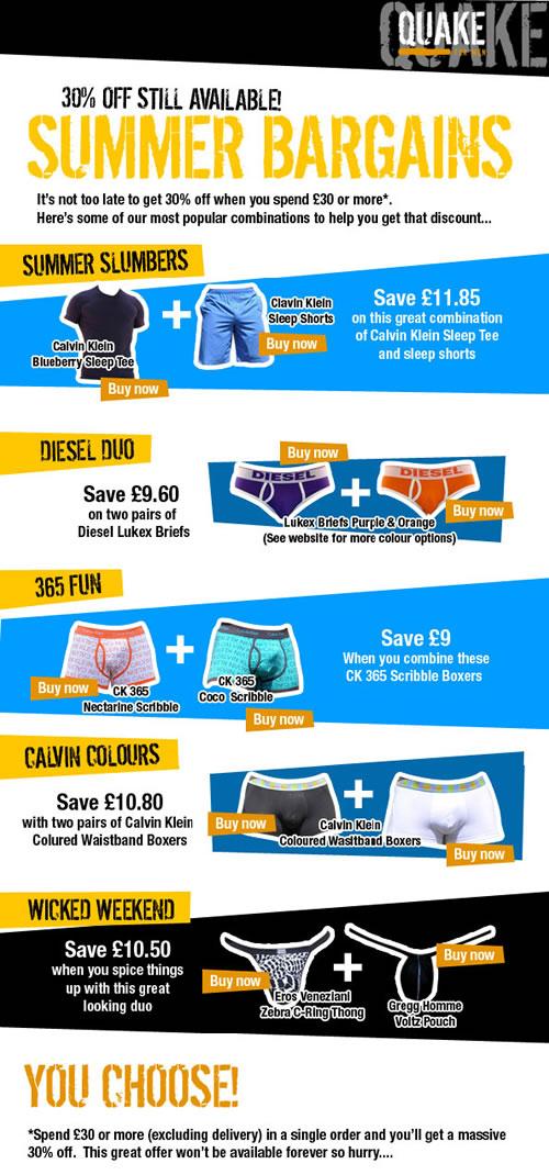 Summer Bargains at Quake for Men