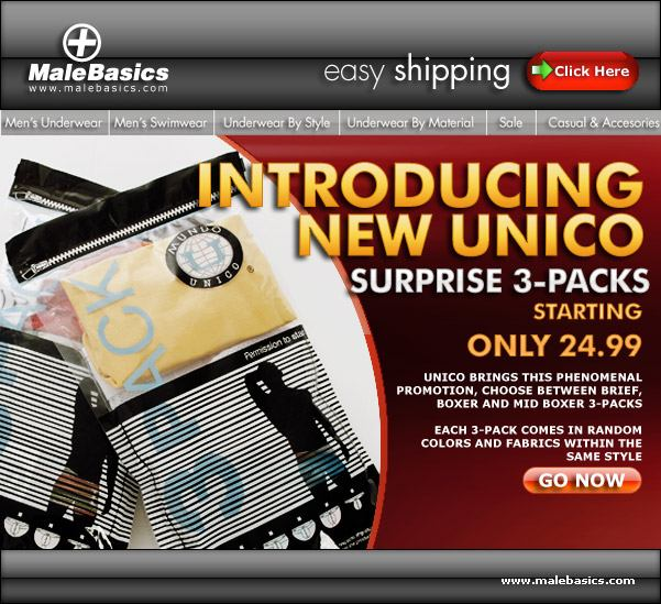 New Unico Three Packs at Male Basics