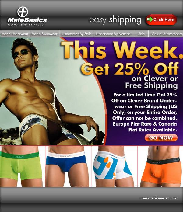 Save two ways at Male Basics