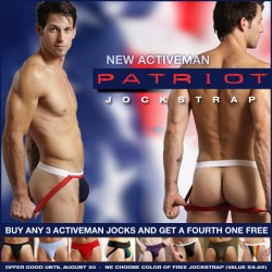 Acitveman Jocks Buy 3 Get 1 Free Plus New Patriot Jock at Jockstrap Central