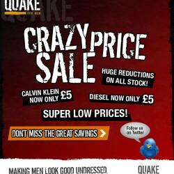 Crazy Price Sale at Quake For Men