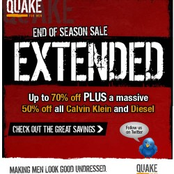 End of Season Sale at Quake for Men Extended