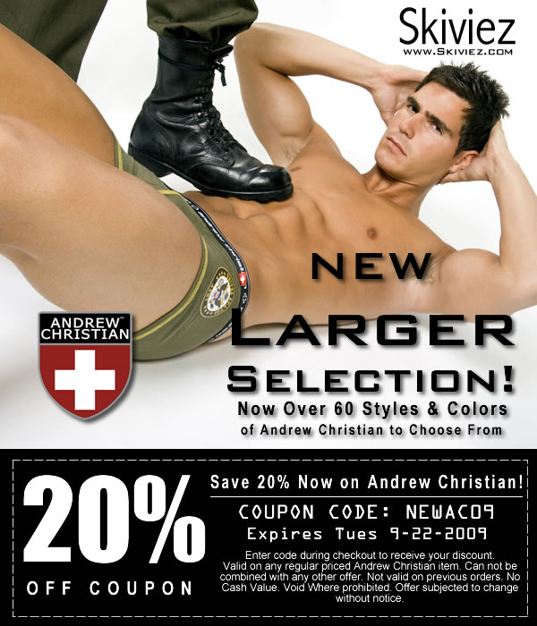 SAVE 20% on Andrew Christian at Skiviez