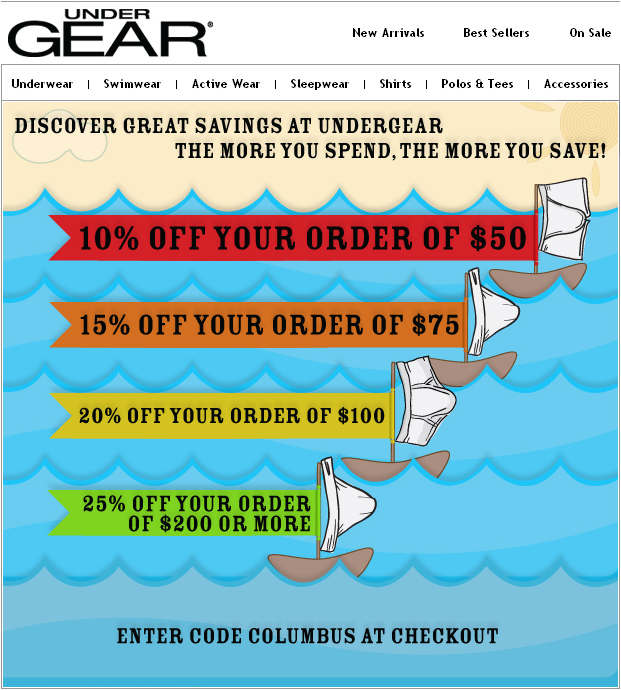 UnderGear Columbus Day Sale and save up to 25% off