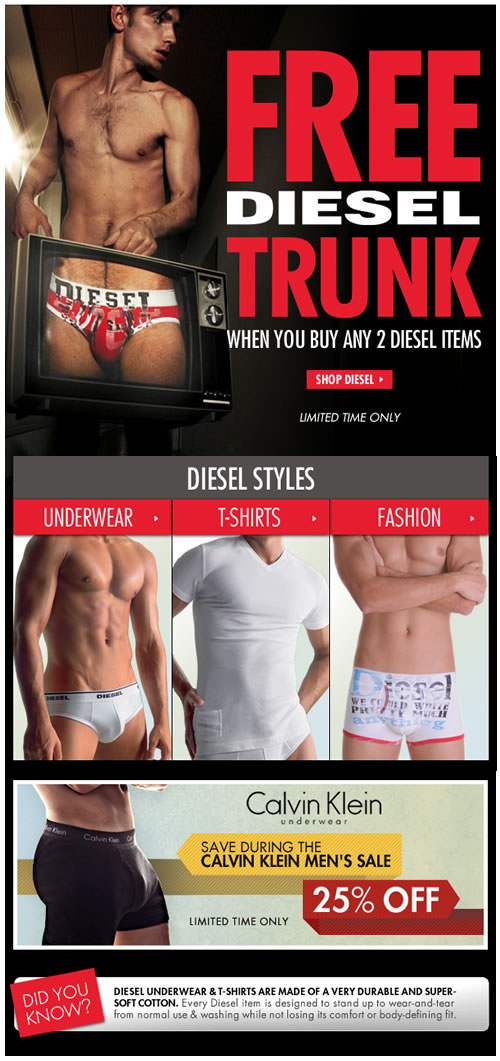 Diesel Trunk Free with Diesel Purchase - Limited Time Only at Freshpair