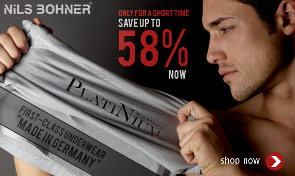 """Only for a short time - save up to 58% on underwear """"Made in Germany"""" by NiLS BOHNER at Oboy"""