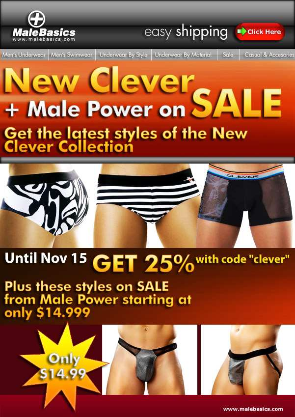 PRIVATE SALE 25% OFF ON CLEVER at MaleBasics