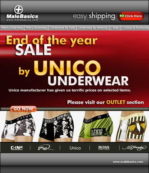 UNICO SALE UP TO 35% OR MORE AT MALE BASICS