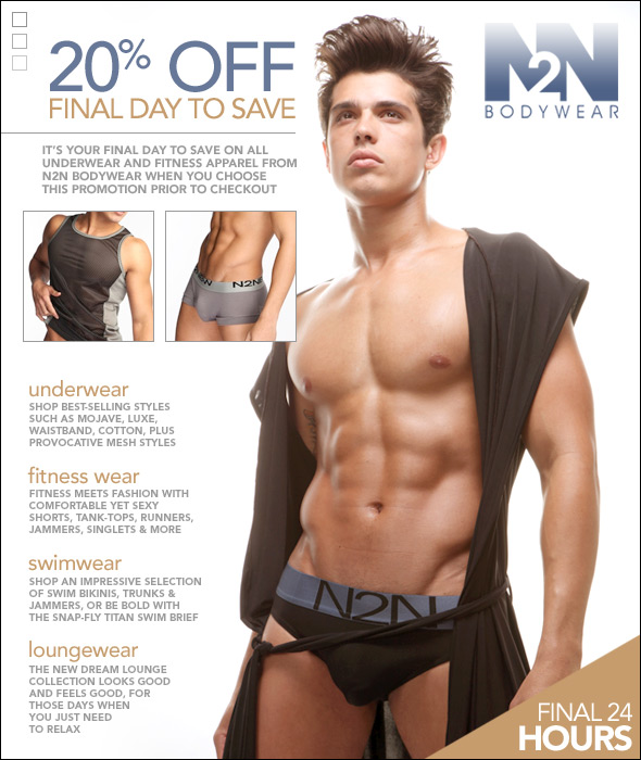 Final 24 Hours: Take 20% Off All N2N Bodywear Styles at 10 Percent.com