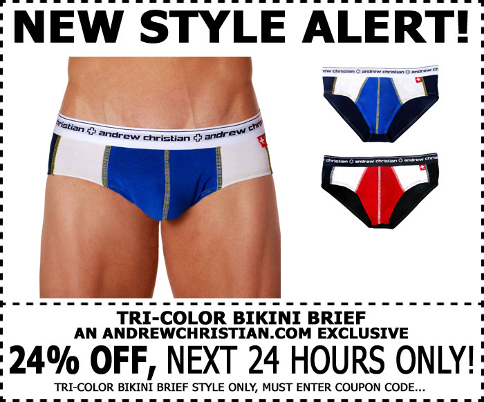 Andrew Christian's New Tri-Color Brief 24% Off Next 24 Hrs