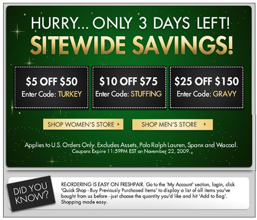 Only 3 Days Left - Freshpair Sitewide Savings