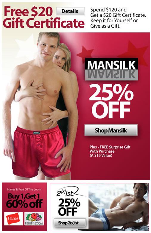 laim Your $20 Gift Certificate Plus, 25% Off Mansilk At HisRoom