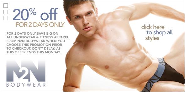 2 Days Only: 20% Off N2N Bodywear Underwear & Fitness at 10 Percent.com