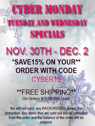 Cyber Monday Tuesday and Wednesday at Cityboyz Fashions