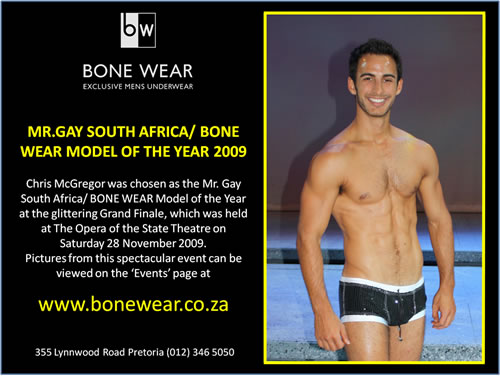Mr. Gay South Africa/ BONE WEAR Model of the Year