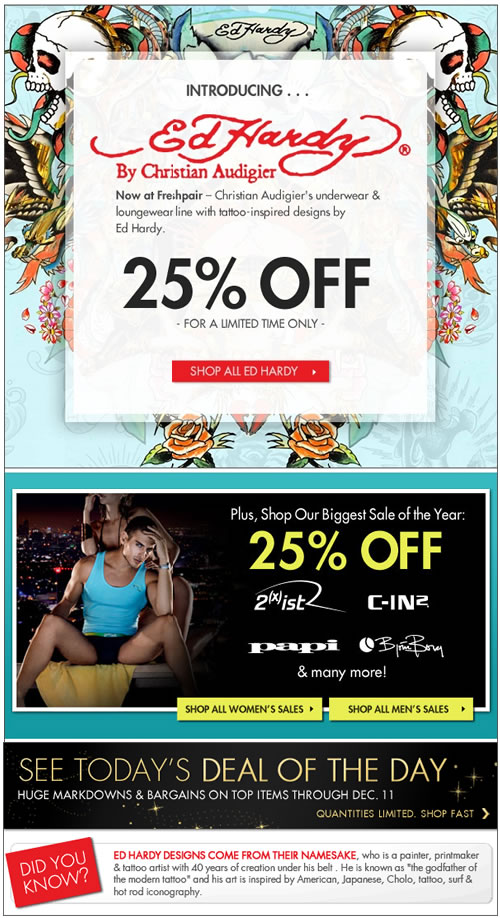 New at Freshpair! Ed Hardy 25% Off - Limited Time Only