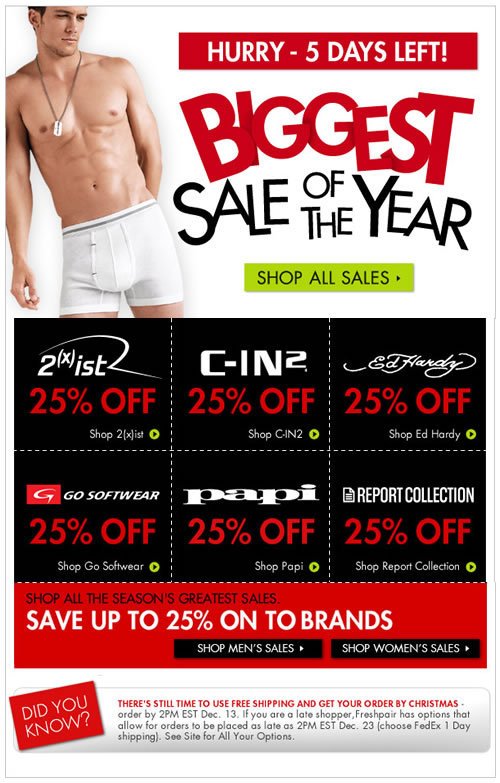 Hurry, Ends Soon - 25% Off 2(x)ist, C-IN2, Ed Hardy & Many More at Fresh Pair