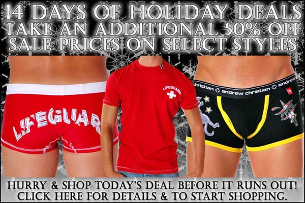 Andrew Christian Days Of Holiday Deals: Day 7 - 50% Off Select Items!!!