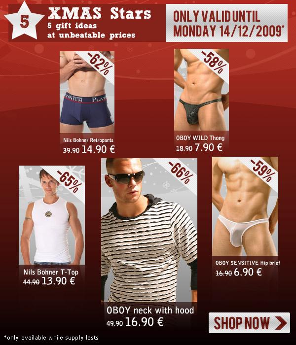 XMAS Stars at rock-bottom prices + Brand new - HOM underwear fashion at Oboy