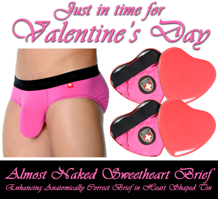 Almost Naked Sweetheart Brief Enhancing Anatomically Correct Brief with Heart Shaped Tin