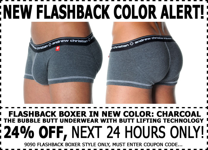 Andrew Christian Flashback Boxer Charcoal - 24% Off - 1 Day Only