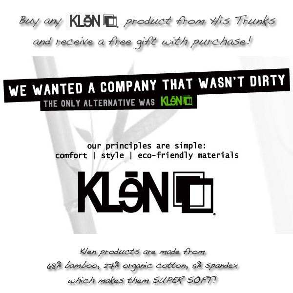 Free gift with the purchase of any klen laundry product from His Trunks!
