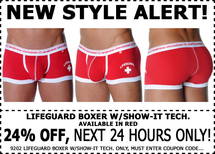 Show-It New Lifeguard Boxer 24% Off - 1 Day Only at Andrew Christian
