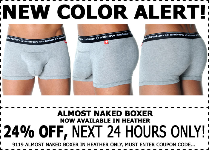 Save 24% Off Almost Naked Boxer in Heather - 1 Day Only @ Andrew Christian