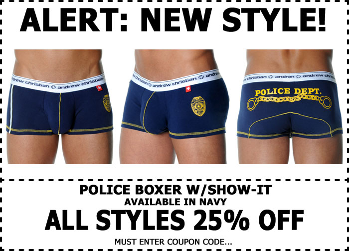 Andrew Christian 25% Off Sale + New Police Show-It Boxer Now Shipping
