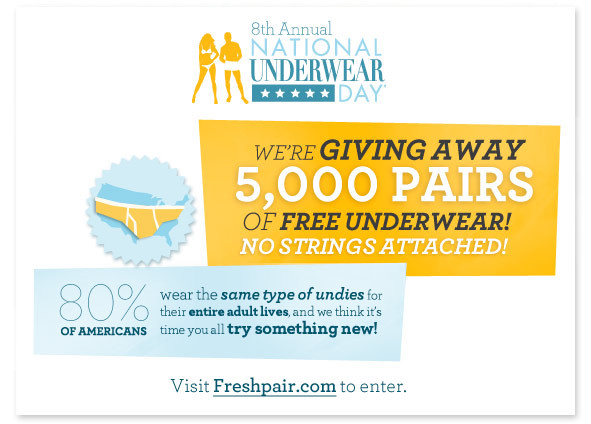 8th National Underwear Day Kicks Off With 5,000 Pair Underwear Giveaway