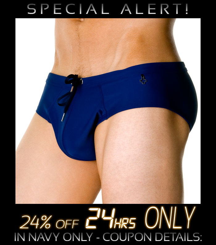 Andrew Christian Metal Cross Bikini in Navy - 24% Off Next 24 Hrs Only!