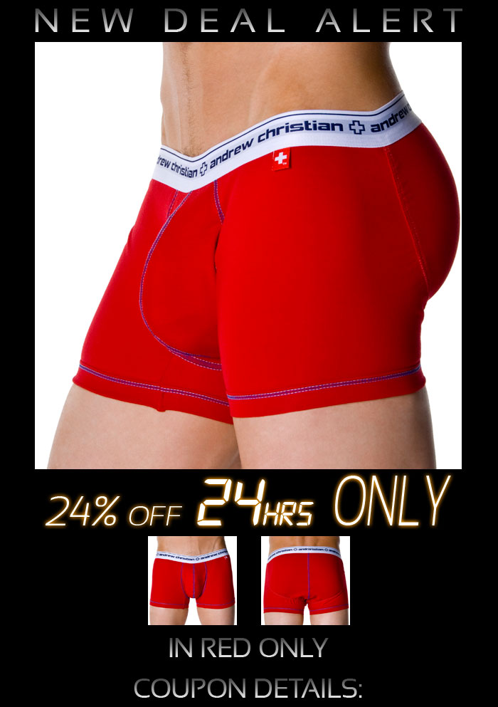 Flashback w/ Show-It Boxer from Andrew Christian in Red, 24% Off Next 24hrs and FREE SHIPPING