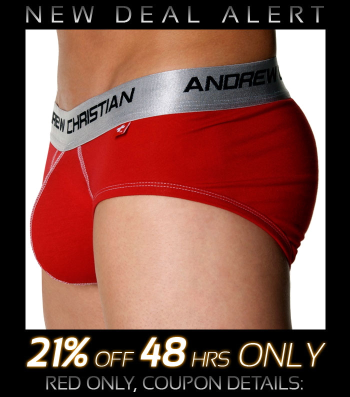 Andrew Christian Shock Jock Brief, Red - 21% Off Next 48 Hrs Only!