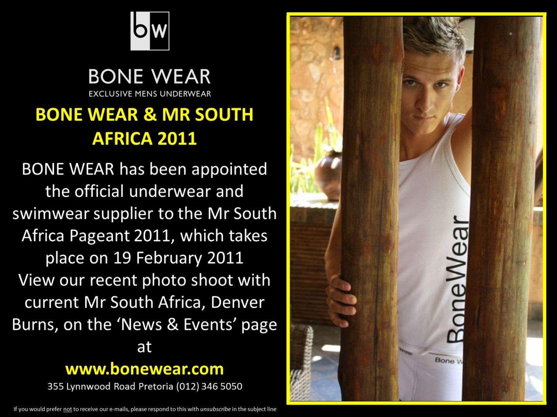 BONE WEAR and Mr South Africa 2011