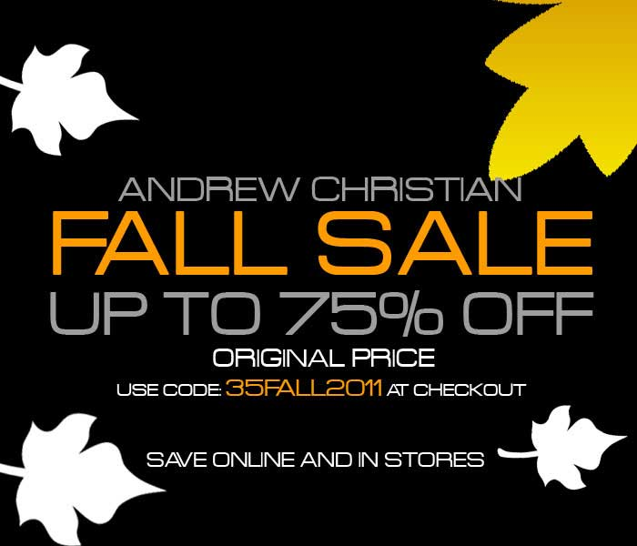 Andrew Christian Fall Sale- Extra 35% Off On  Sale Prices