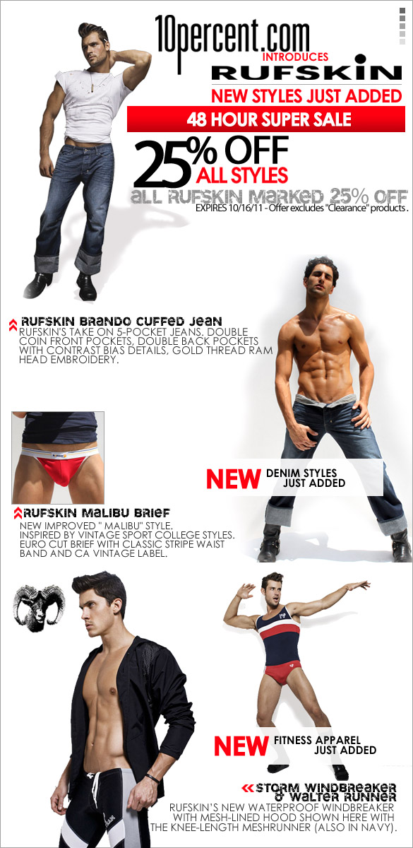 25% Off all the Hottest Rufskin Styles - 48 Hours Only at 10Percent.com