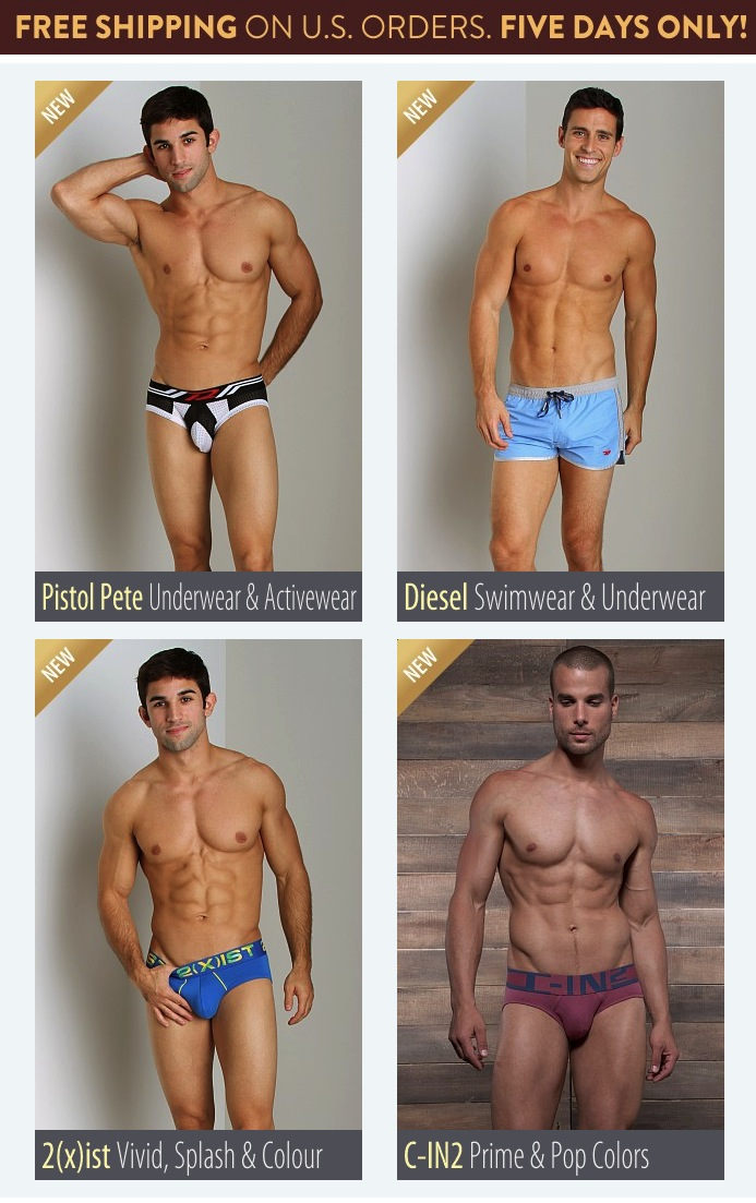 FREE Shipping, Five Days Only! Plus, New Diesel, Pistol Pete, C-IN2 and 2(x)ist at International Jock