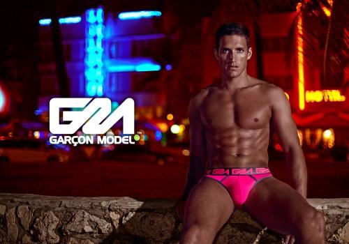 Garcon Model underwear - Briefs---Pink-&-Grey---Neon-Strip-South-Beach-HIGH-RES-WEB