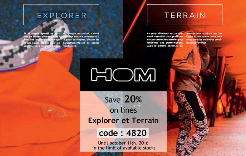 20% on HOM lines EXPLORER and TERRAIN at Planet Undies